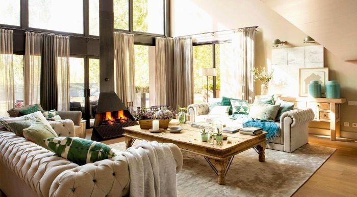 wohnzimmer ideen modern sofa, deko ideen, wohnzimmer, vorhänge dekorieren