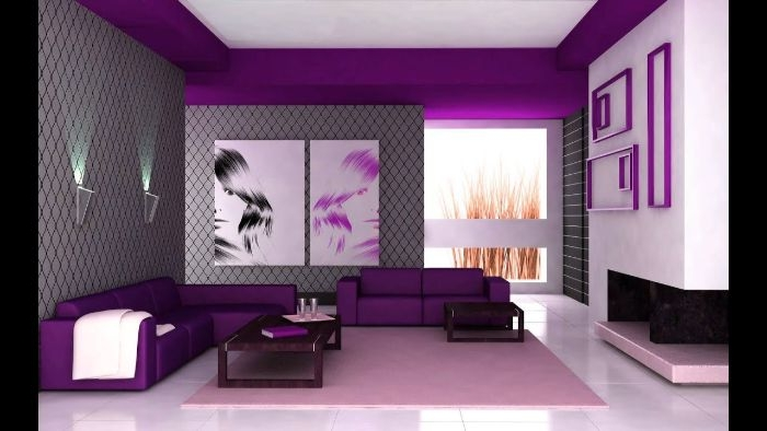 wohnzimmer ideen modern völlig in lila farbe, wanddeko mit blumen, wandgestaltung lila