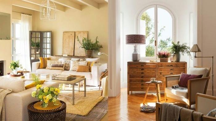 zwei schöne wohnzimmer im landhausstil eingerichtet und dekoriert, warme farbtöne
