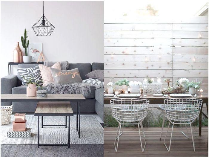 schöne wohnzimmer ideen, zwei bilder auf einmal collage, graue designs selber stylen