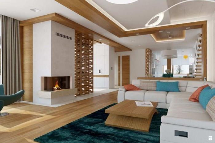 schöne wohnzimmer, beige wei0 deko kamin in der wand eingebaut, bunte kissen