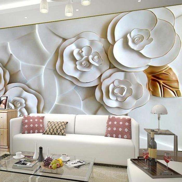 3-D-Tapeten in weißer Farbe mit Blumenmotiven zur Wandgestaltung im Wohnzimmer