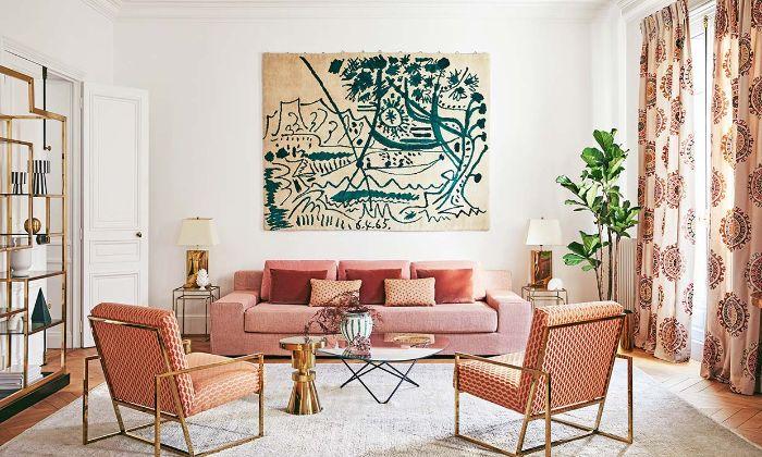 deko für wohnzimmer, orange, rot deko ideen, wandbild beige und grün