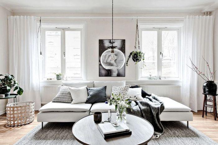einrichtungsideen wohnzimmer elegant in einem weiß grünen natürlichen stil, sofa, tisch, deko