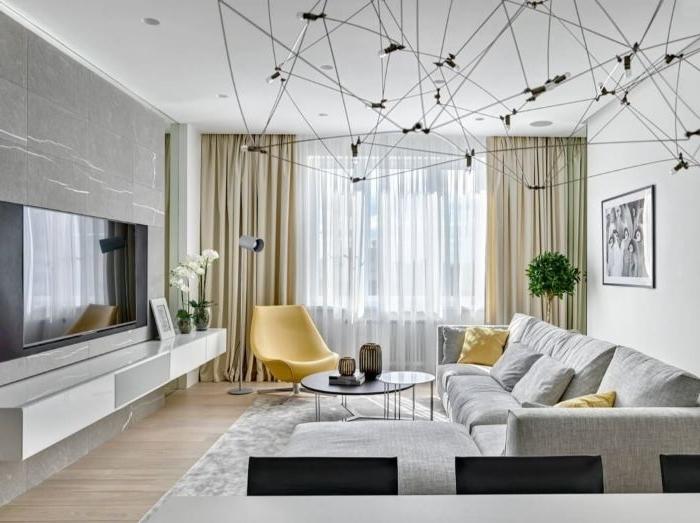 einrichtungsideen wohnzimmer kreatives lampendesign, deko, gelbe sessel