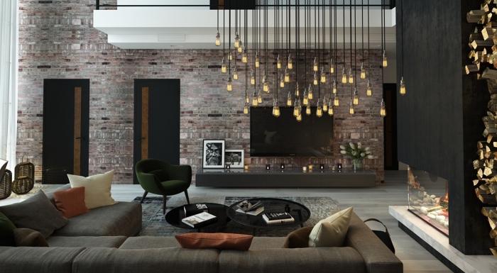 wohnideen wohnzimmer kreativ, grau und schwarz wohndesign ideen, viele kleine lampen