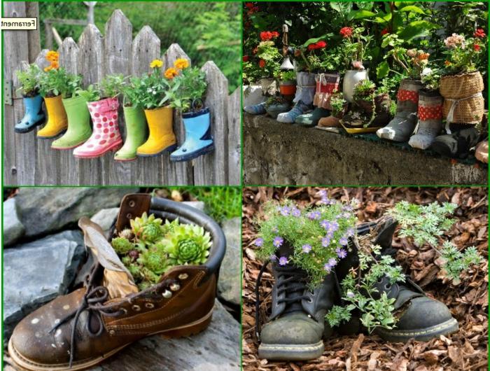 balkon blumentopf aus stiefel und anderen schuhen selber gestalten deko ideen für den garden schuhe dekorieren