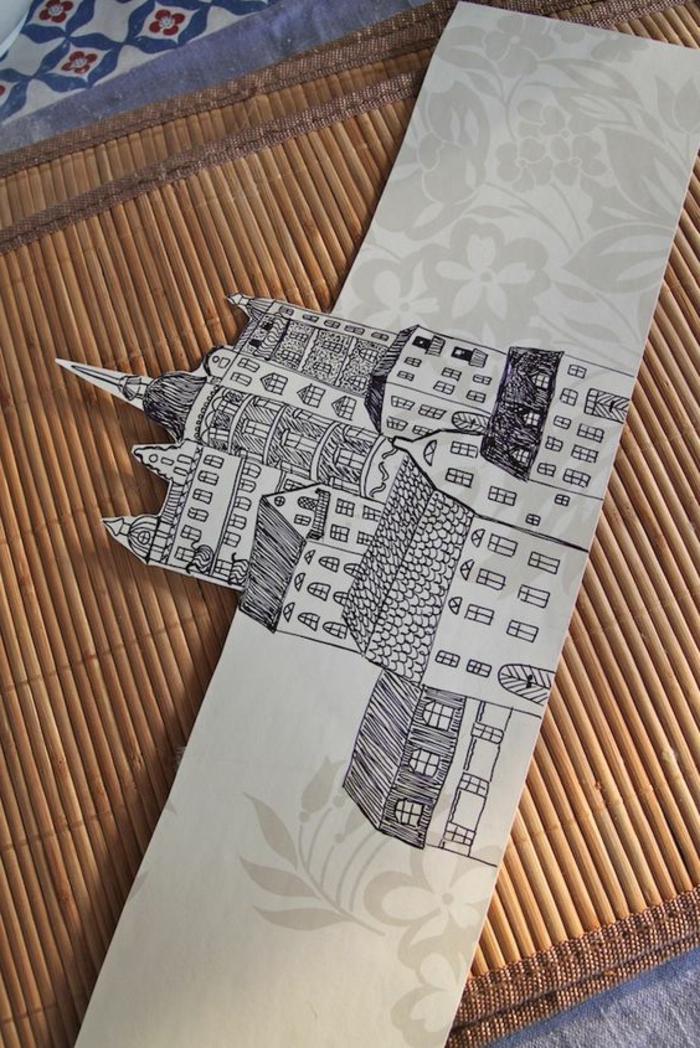 laternen basteln aus papier, zeichnung, gebäude