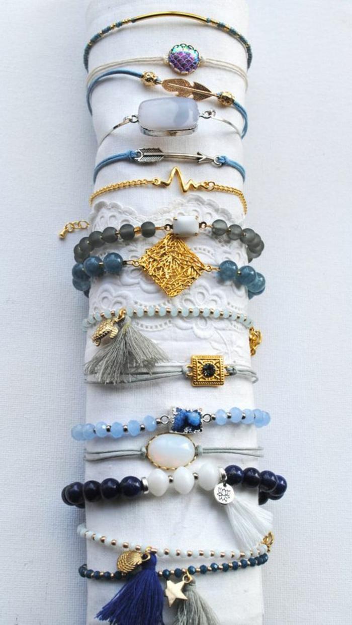 Armbänder selber machen: verschiedene Armbänder-Modelle mit Glasperlen, Schmucksteinen, Ketten, Garn