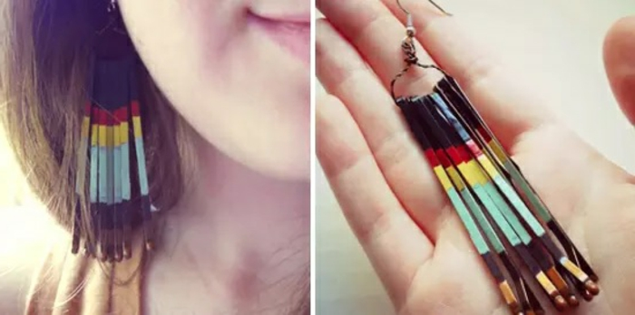 Ohrringe selber machen: Party-Ohrringe aus langen farbigen Haarklammern