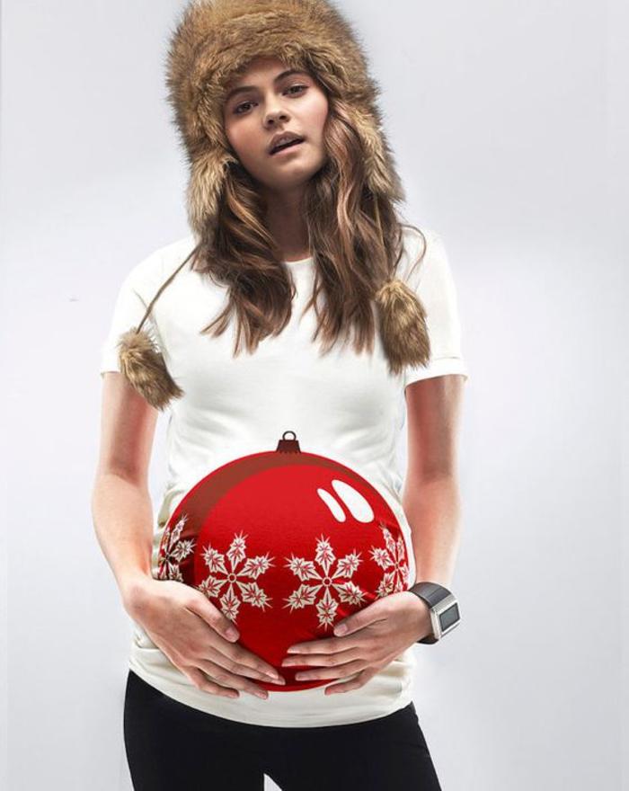 schwangerschaftskleidung, lustiges shirt mit kurzen aermeln, weihnachten