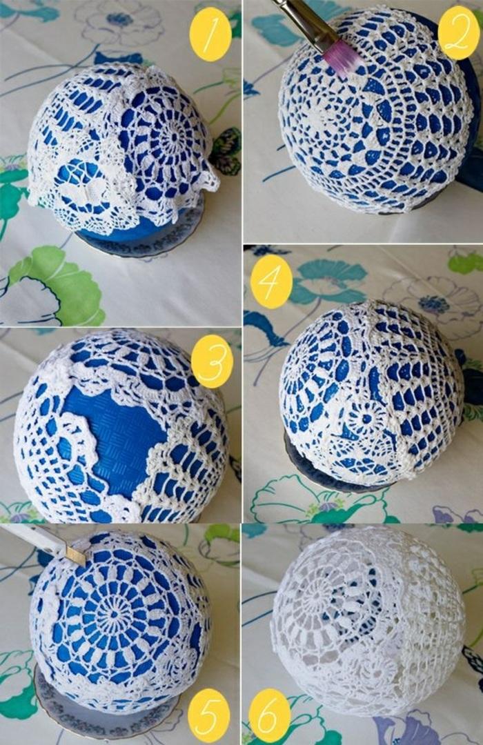 laternen basteln aus weißer spitze, blauer luftballon, schüssel, pinsel