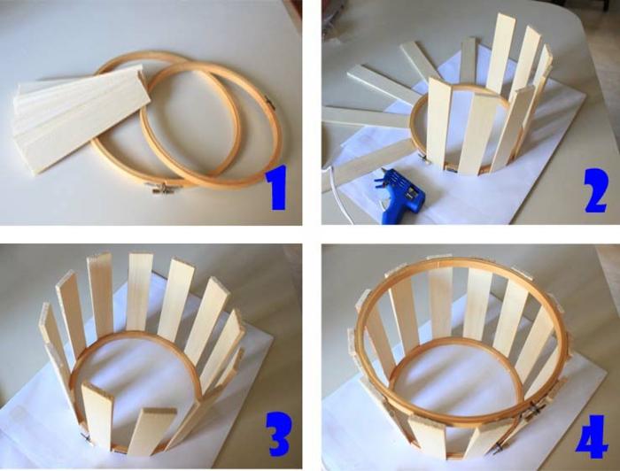 Lampenschirm basteln: Lampenschirm aus Holzbretter, zwei Stickringen in verschiedener Größe, Stück Nähstoff