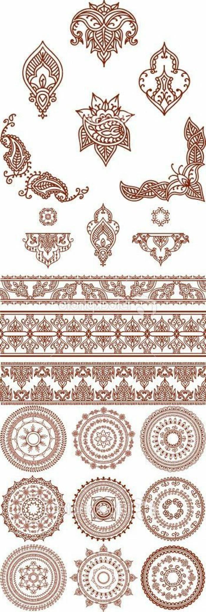 Henna Tattoo Muster für Mandala Tattoos, Armbandtattoos-Muster, ornamentale Tattoos Muster