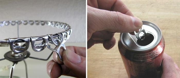 Lampenschirm basteln: Lampenschirm aus metallen Coca-Cola-Dosenverschlßssen selber machen
