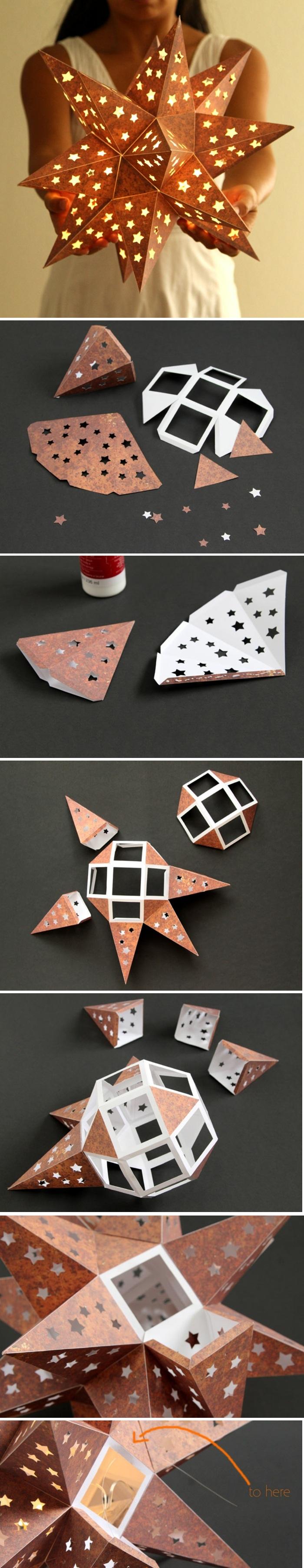 laternen basteln - laterne stern aus braunem papier selber machen