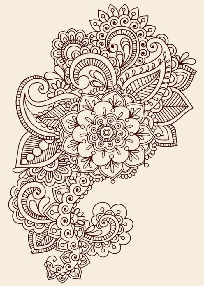 Henna Tattoo Muster mit floralen Motiven, großes Tattoo für den Rücken, Blumentattoo Muster