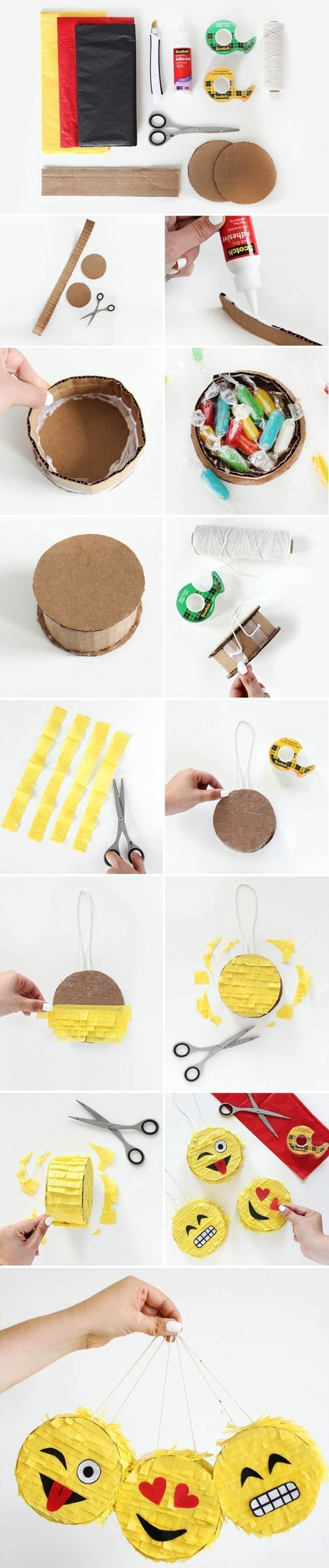 pinata basteln - buntes papier, karton, schere, bonbons