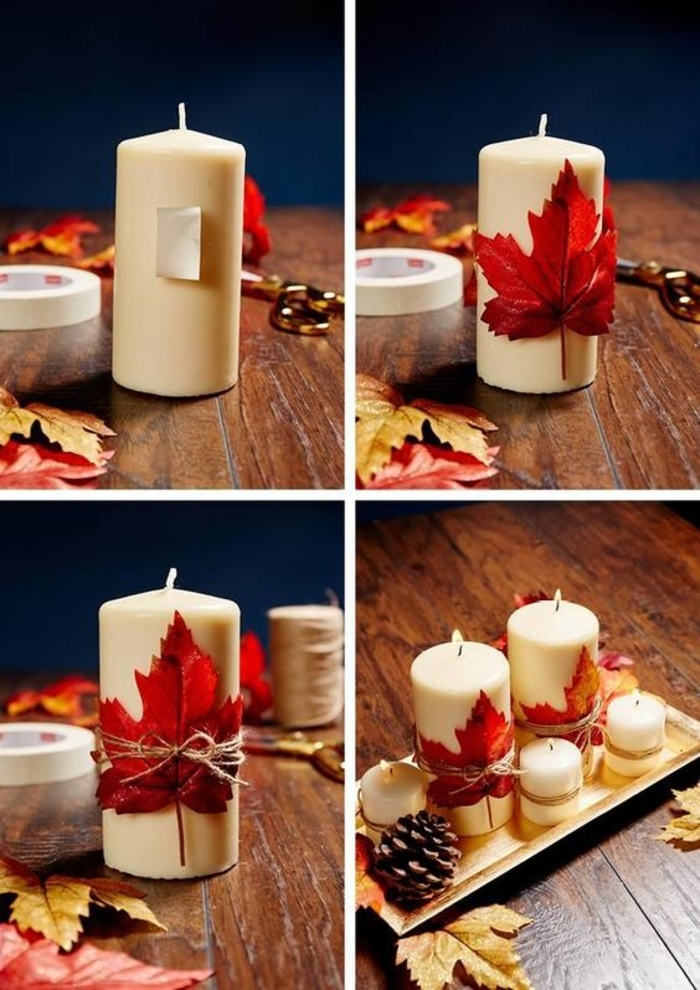 runde weiße kerzen mit blättern dekorieren, schleife tischdeko, tannenzapfen