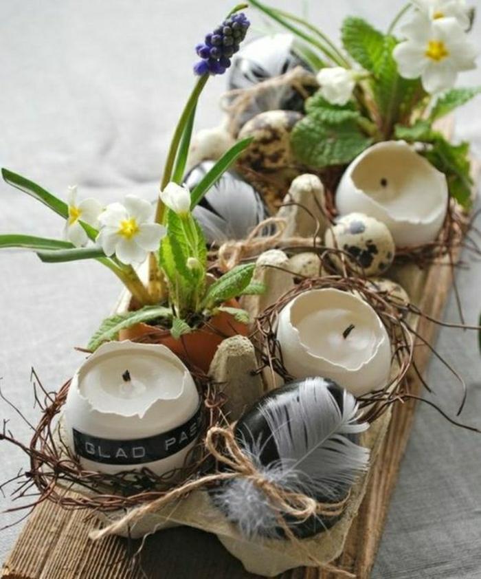 Osterschmuck selber basteln Kerzenhalter und Vasen aus Eierschalen