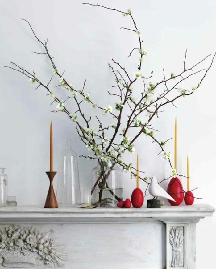 Frühlingsdeko aus Zweigen und Kerzenhalter aus Holz