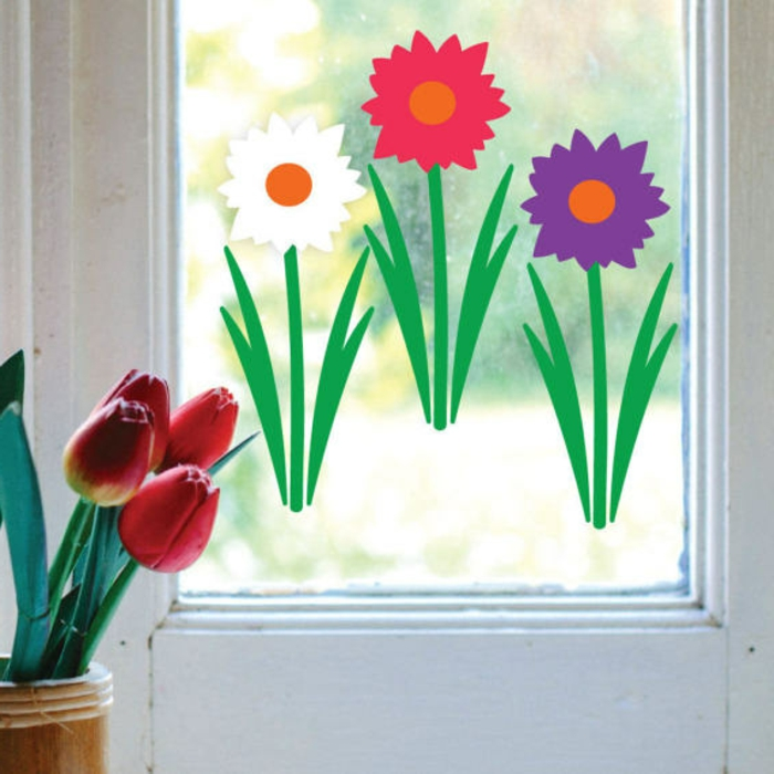 Fensterbilder Blumen Bastelvorlagen und Deko mit Tulpen