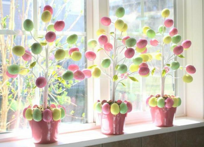 Blumentöpfer aus Ostereier basteln niedliche Farben