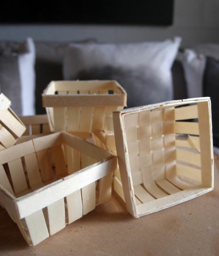 Osterkorb und Osternets aus Holz selber basteln Osterdeko aus Holz