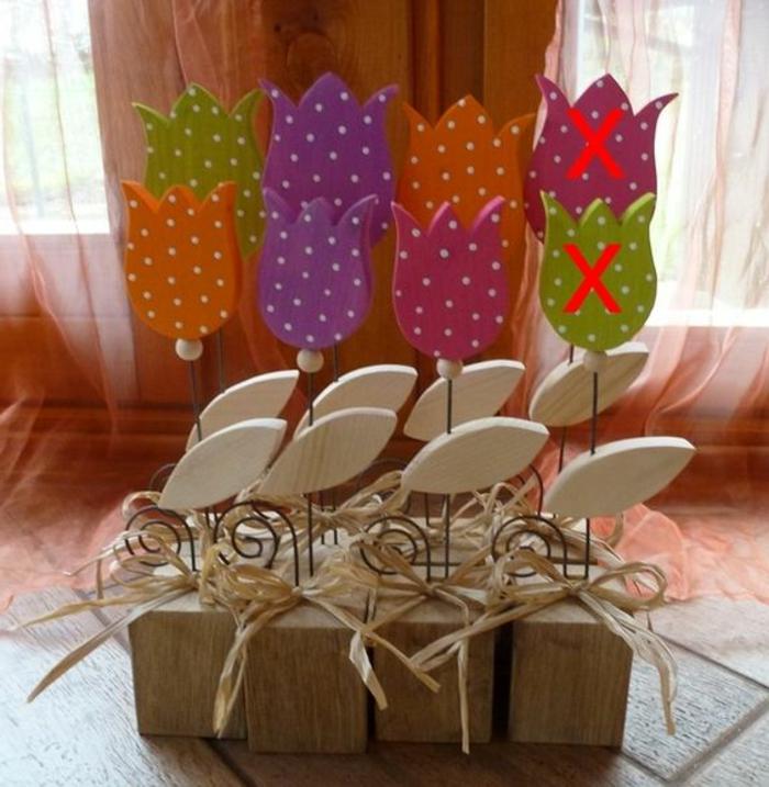 Frühlingsdeko aus Holz Frühblüher Tisch-oder Fensterdeko