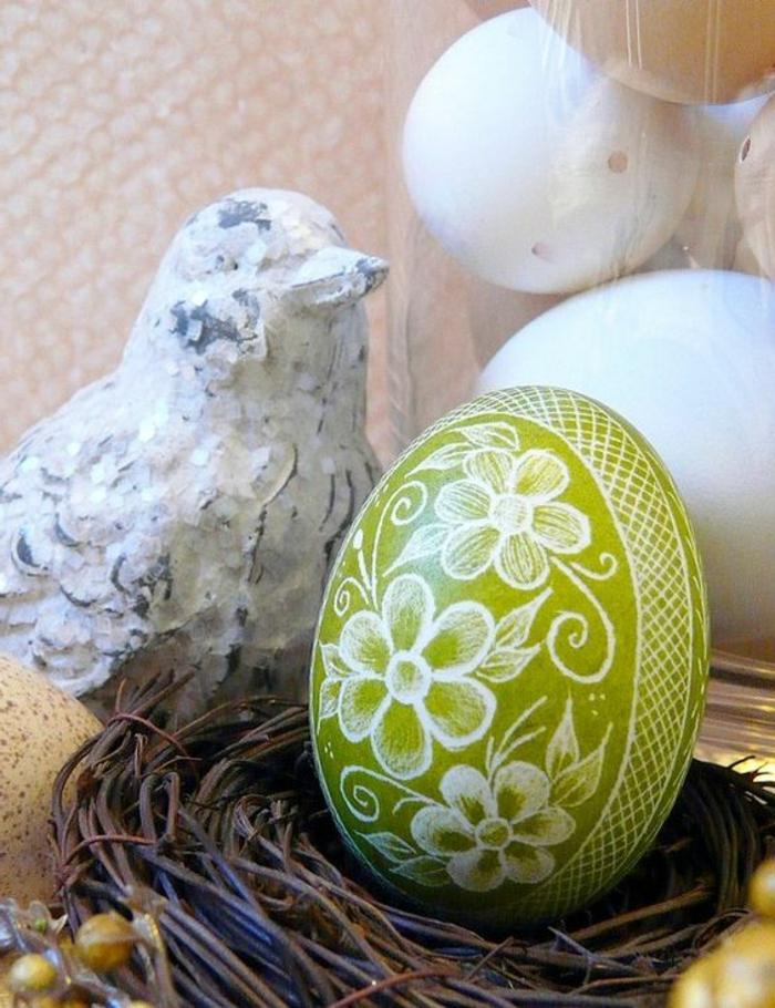 Osterei aus Holz und Holz Vogel Shabby Chic