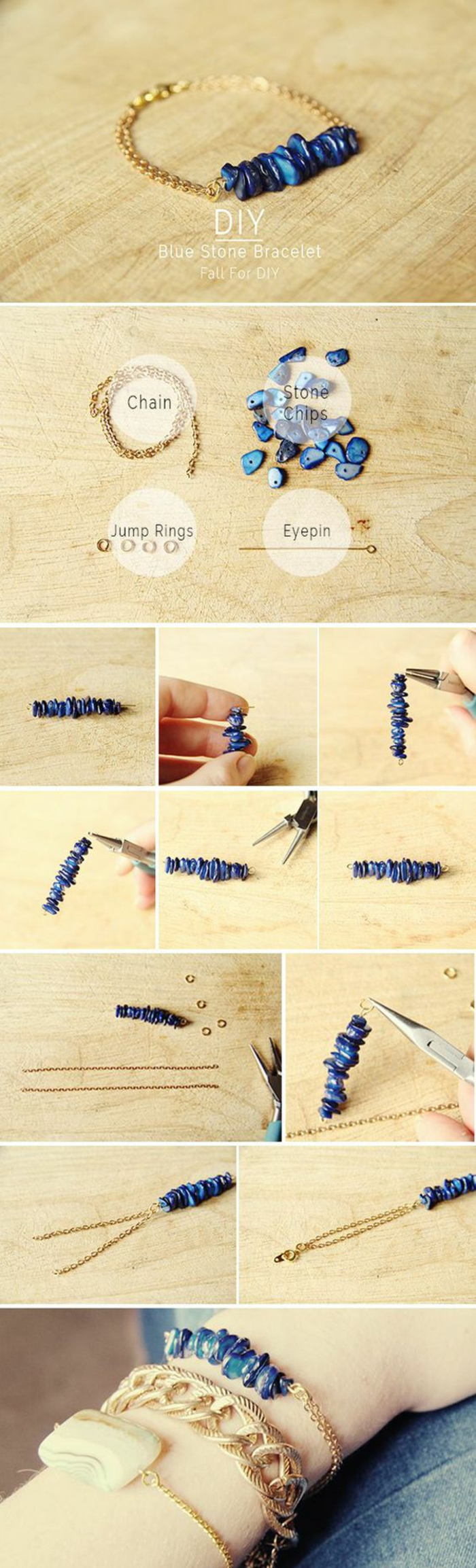 Armbänder selber machen: Kettenarmband aus Lapislazuli-Steinen, Schmuckzangen, Kettenstift, Biegeringe