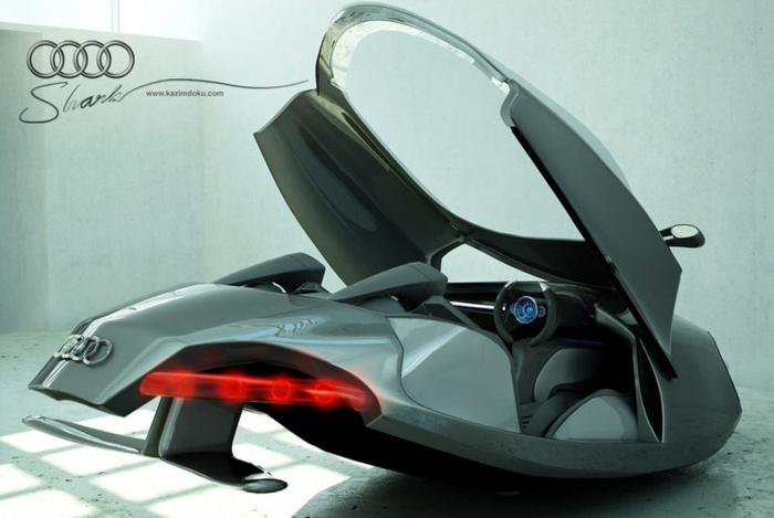 fliegende autos audi shark ist ein ganz neues konzept für ein graues flugauto