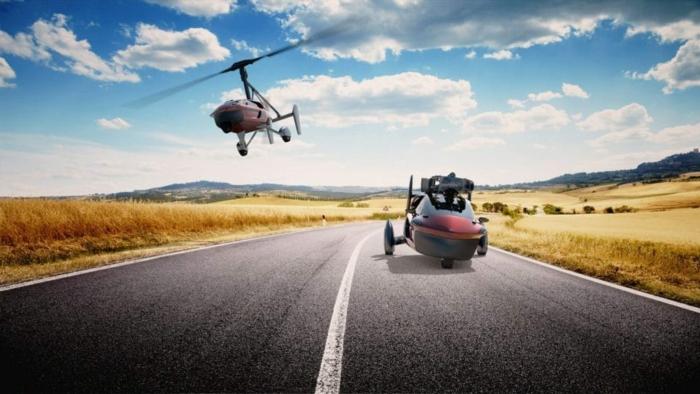hier zeigen wir ihnen zwei fliegende rote flugautos und eine startbahn