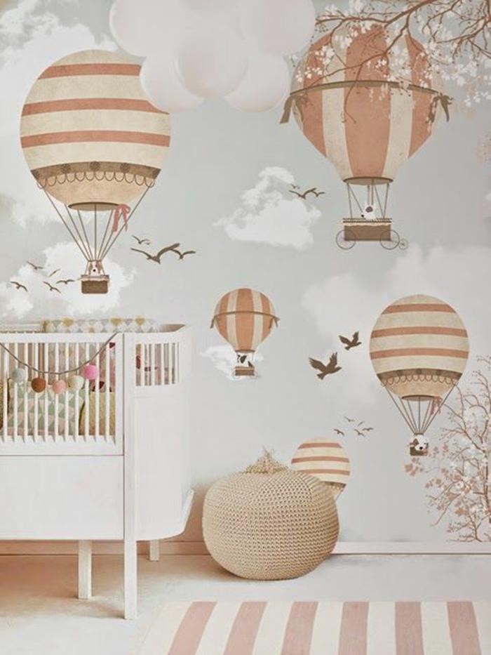 babyzimmer grau rosa beige interessante dekorationen an der wand wandgestaltung idee balloons babybett