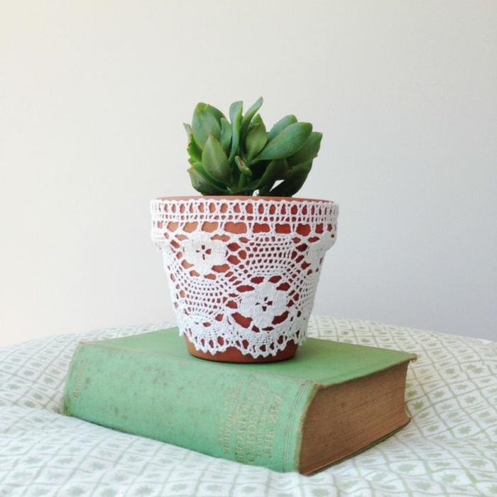 blumentöpfe dekorieren ideen buch topf mit spitze verkleider grüne pflanze wächst in dem topf