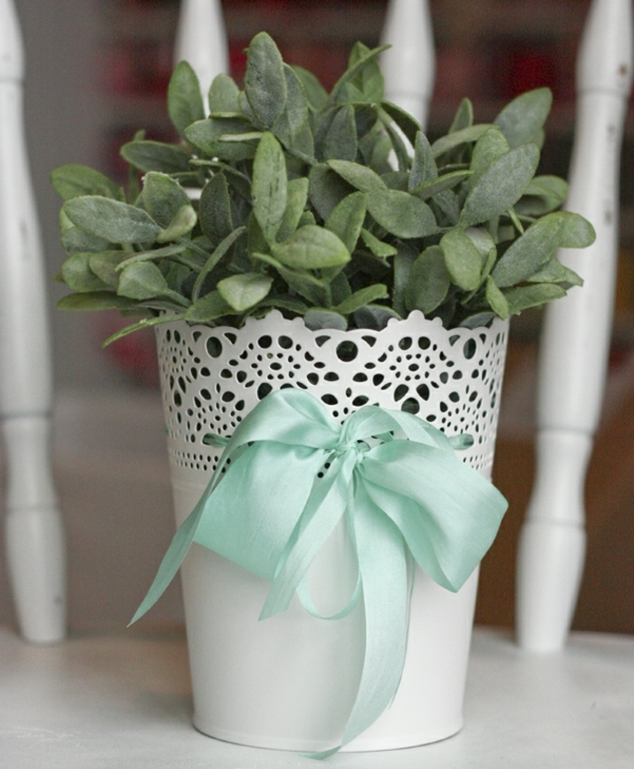 blumentöpfe dekorieren dezentes blumentopf design weißer topf pflanze spitze design blaue schleife