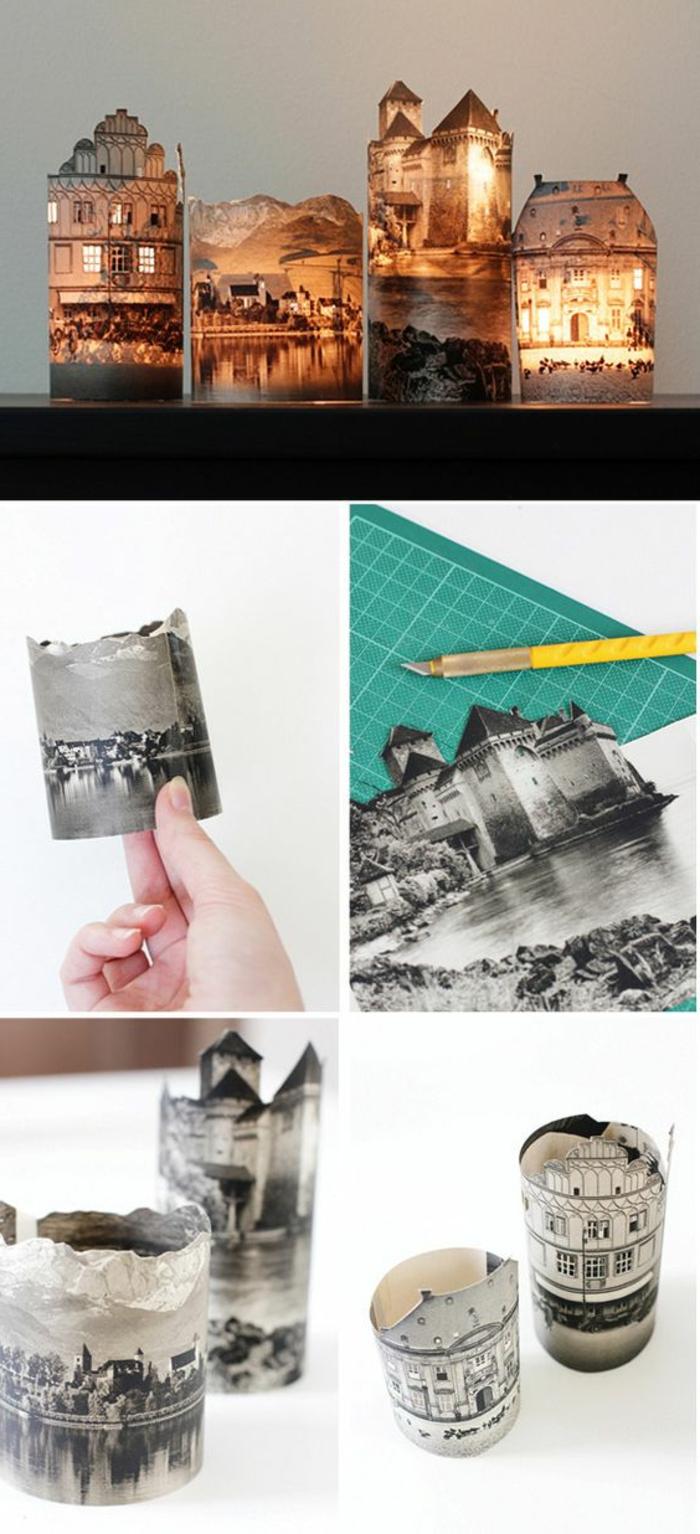 laternen basteln - gläser dekoriert mit schwarz-weißen fotos, cutter