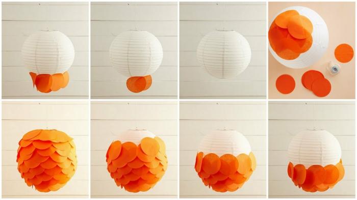 laternen basteln - weißer lampenschirm mit orangem papier dekorieren