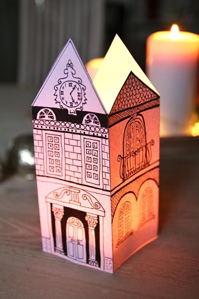 eckige papierlaterne, gebäude, zeichnung, weiße kerze, kerzenlicht