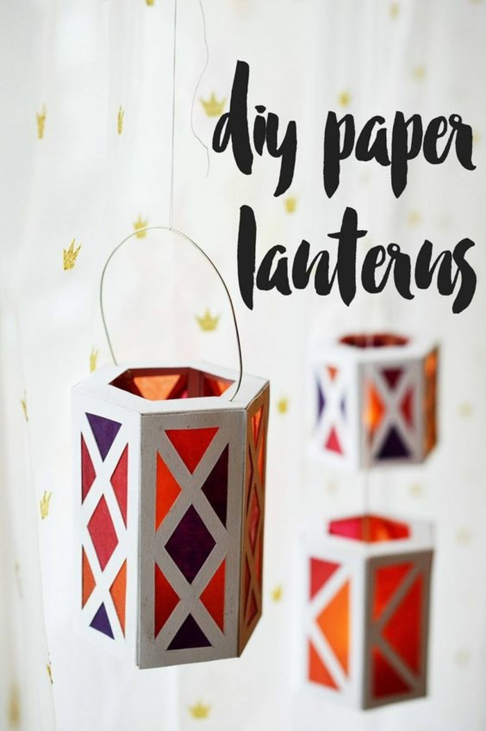 diy laterne aus papier,, aufhänger aus draht, hängende deko