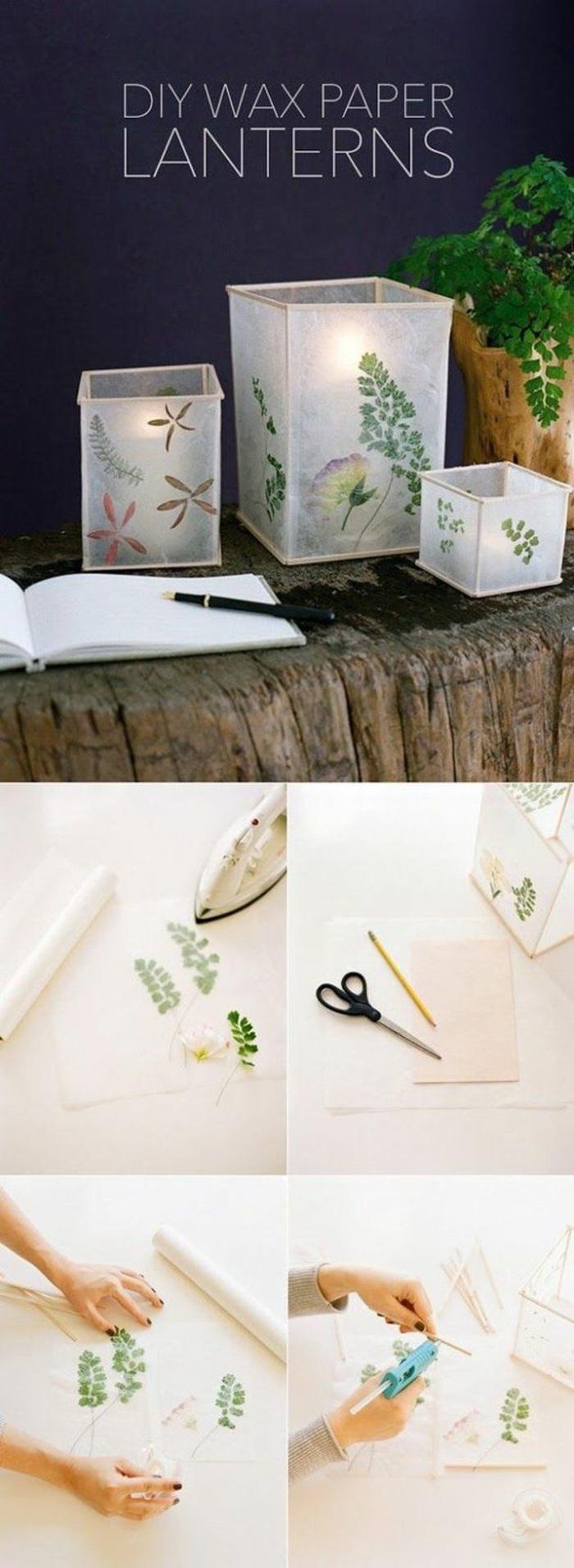 diy laternen aus wachspapier dekoriert mit grünen blättern