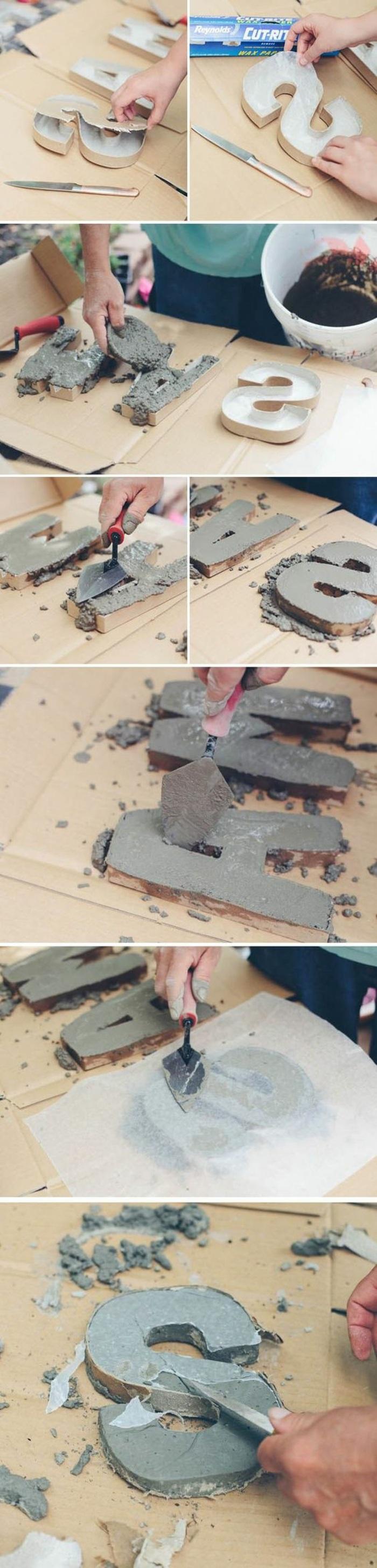 diy deko - buchstaben aus zement, kartonbuchstaben, beton gießen