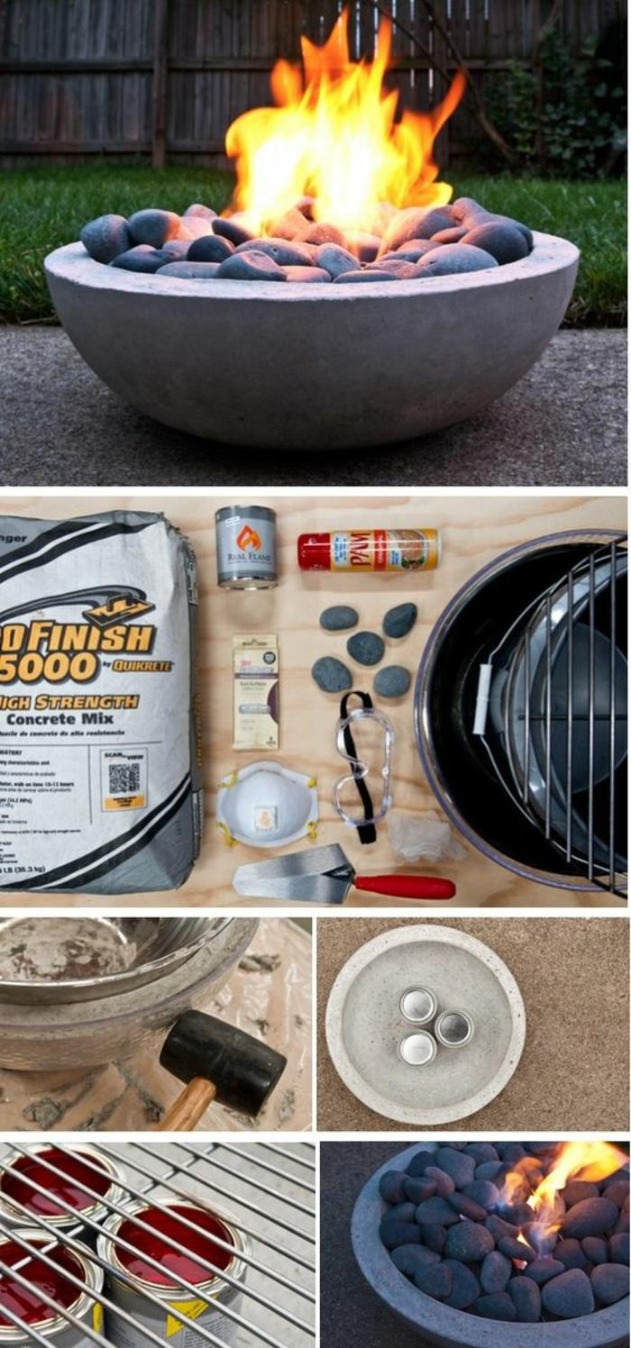 basteln mit beton - runde feuerstelle, steine, gartendeko
