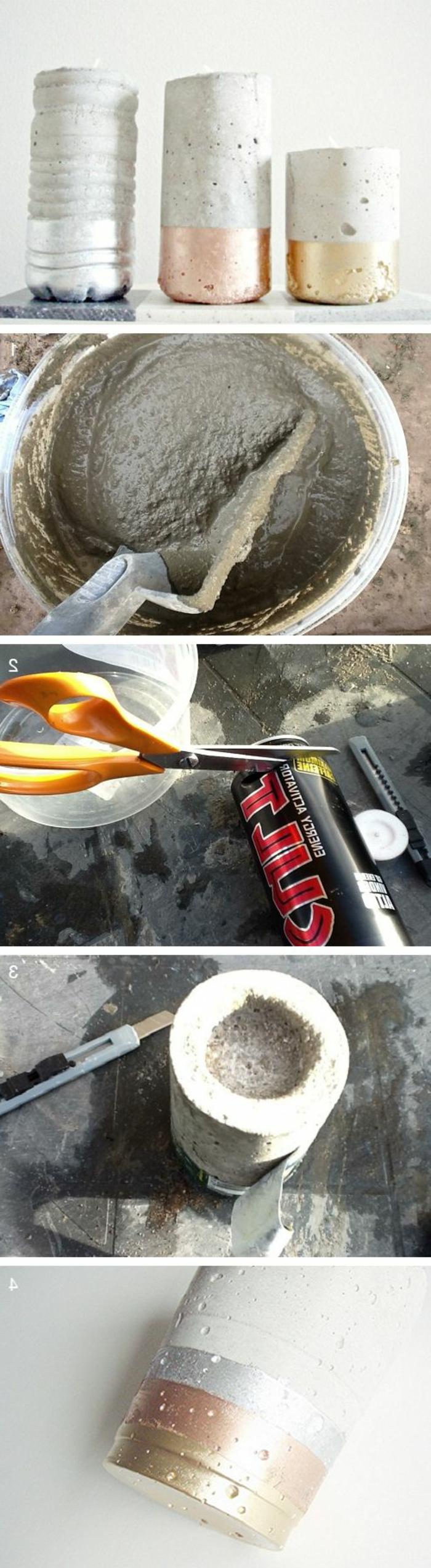 basteln mit beton - diy vasen, dose, schere, cutter