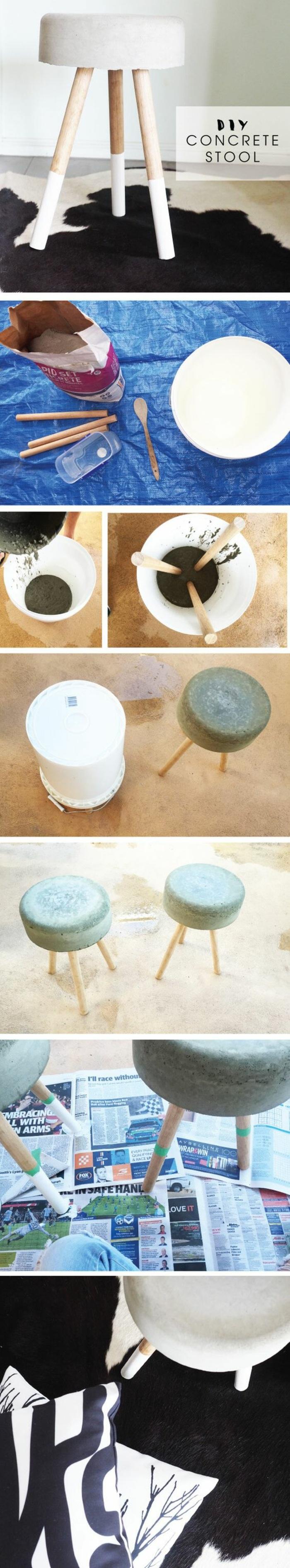 basteln mit beton und holz - diy hocker, weißer eimer, holzlöffel