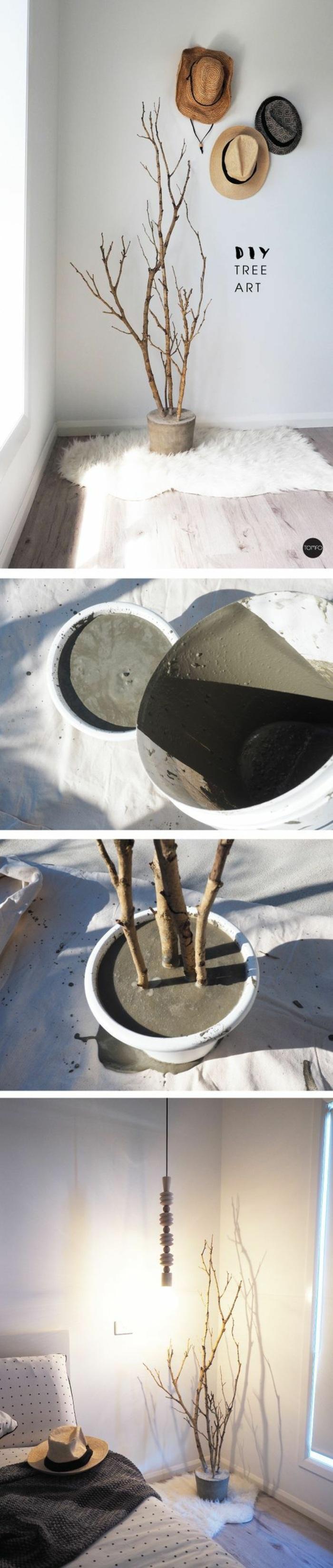 beton gießen - diy deko mit ästen und zement, wanddeko