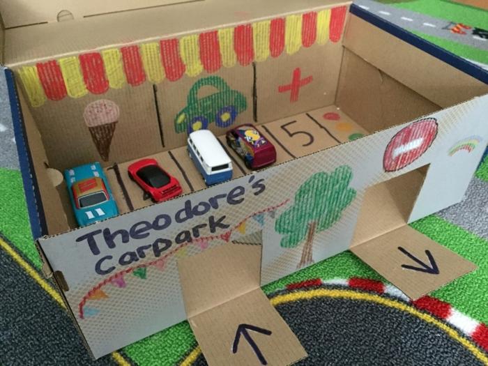 einen Parkplatz für die kleinen Autos mit Bilder für die Vorstellungskraft der Kinder
