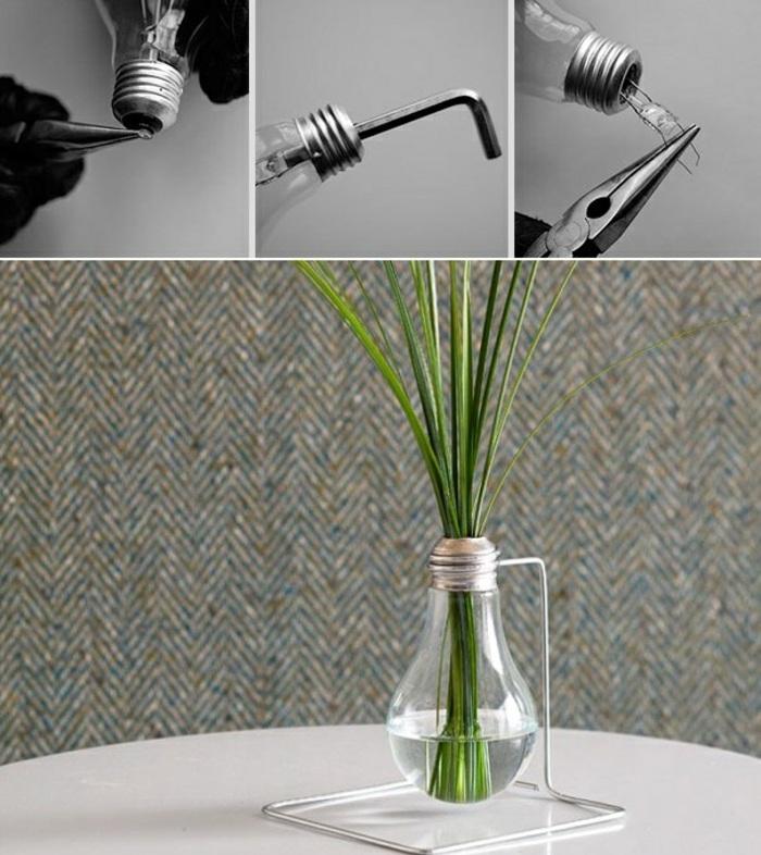 diy vase aus glühbirne, grüne pflanze, draht, schmuckzange