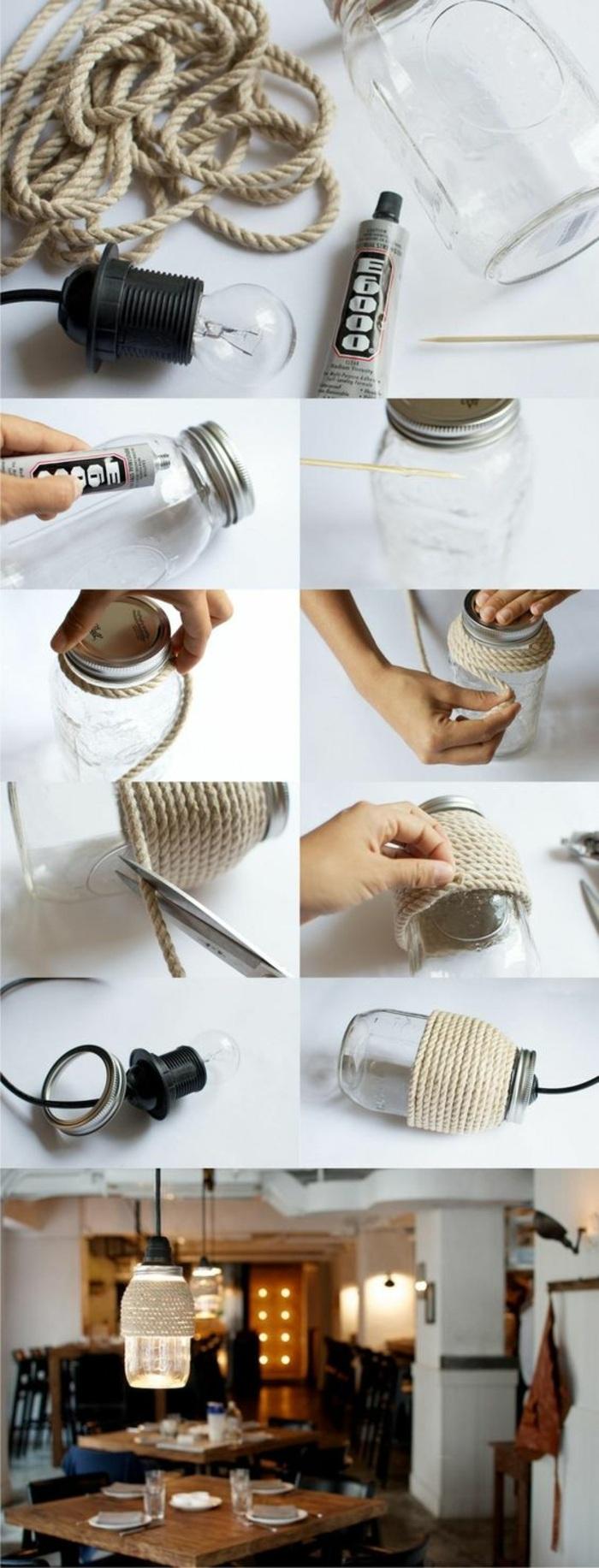 lampenschirm selber machen aus einmachglas dekoriert mit seil, küche, lampe