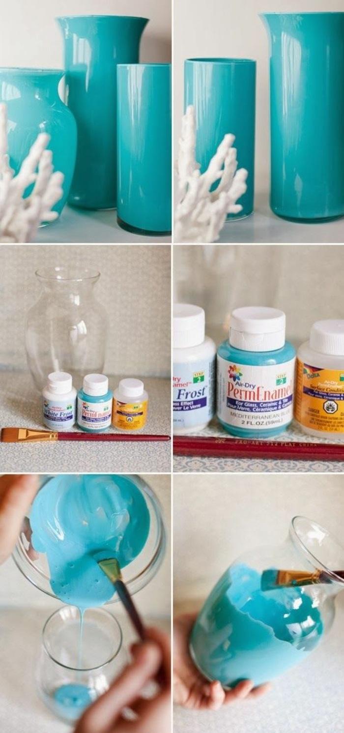 glasvasen mit blauer farbe bemalen, diy deko, pinsel